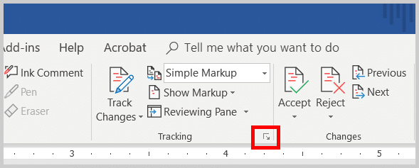 Image of Word 2019 Tracking Dialog Box Launcher | How to open the Advanced Track Changes Options dialog box