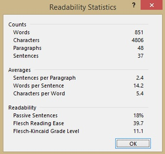 Readability Statistics screen in Word 2013
