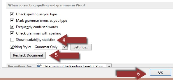 Show readability statistics in Word 2013