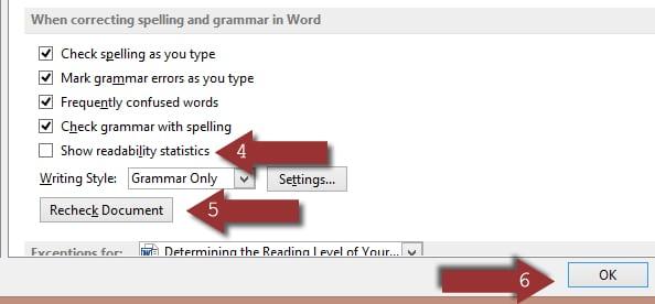 Show readability statistics in Word 2013