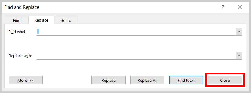 Image of Word 2019 Find and Replace Dialog Box Close Button   Step 7 in How to Delete Extra Spaces in Microsoft Word