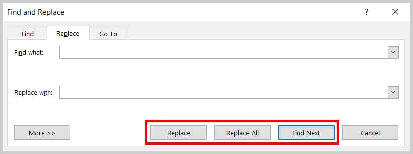 Image of Word 2019 Find and Replace Dialog Box Replace, Replace All, and Find Next Buttons   Step 6 in How to Delete Extra Spaces in Microsoft Word