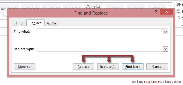 Replacement options in Word Find and Replace Popup