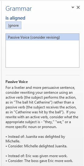 Passive voice result in Word 2013 grammar check