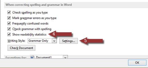 Word 2013 Writing Styles Settings