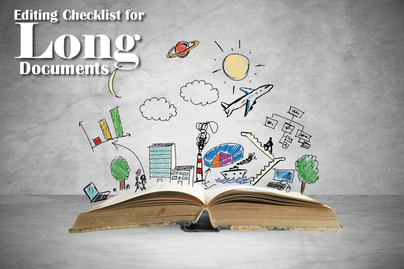 Editing Checklist for Long Documents | Large book with scribble graphics