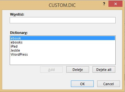 Word 2013 CUSTOM.DIC window
