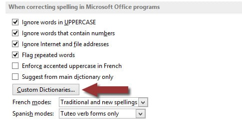 Word 2013 Custom Dictionaries button in Options screen