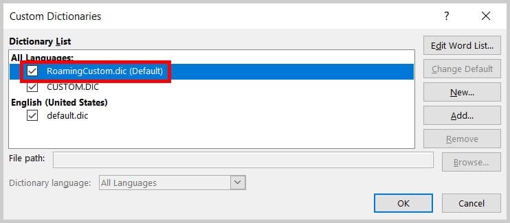 Image of the Custom Dictionary Dialog Box Dictionary List | Step 5 in How to Edit Your Custom Dictionary in Word