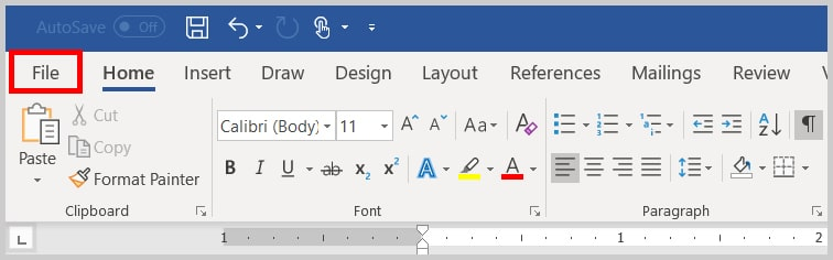 Image of the File tab in Word | Step 1 in How to Edit Your Custom Dictionary in Word