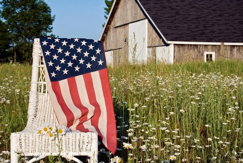 Rural Scene with American Flag