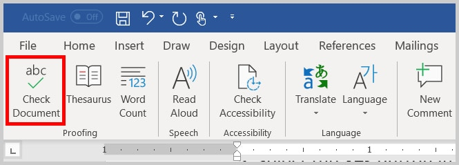 Image of Word 365 / Word 2019 Check Document Button in the Ribbon