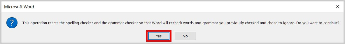 Image of Word 365 / Word 2019 Recheck Document Alert Box