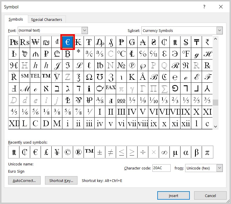 Three Ways to Insert Currency Symbols in Word