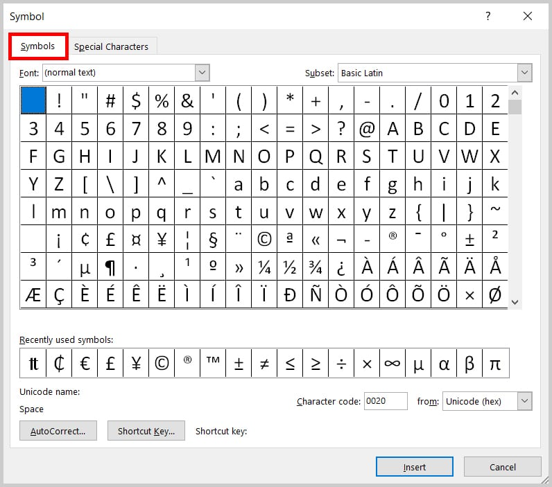 Image of Word 2019 / Word 365 Symbol Dialog Box Symbols Tab | Step 5 in How to Insert Currency Symbols in Word