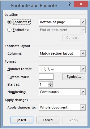 how to get endnote to display page numbers footnote