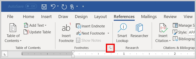 Image of Word 356 / Word 2019 Footnote and Endnote Dialog Box Launcher | Step 3 in How to Insert Footnotes and Endnotes in Word
