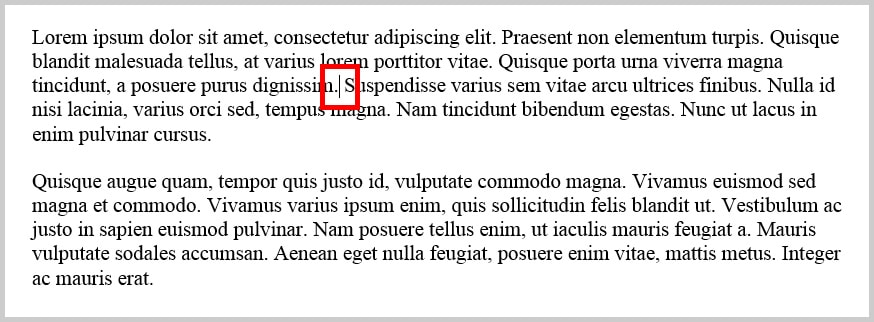 Image of Cursor in Text in Word 365 / Word 2019 | Step 1 for How to Insert Footnotes and Endnotes in Word