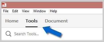 Adobe Acrobat DC Tools Option