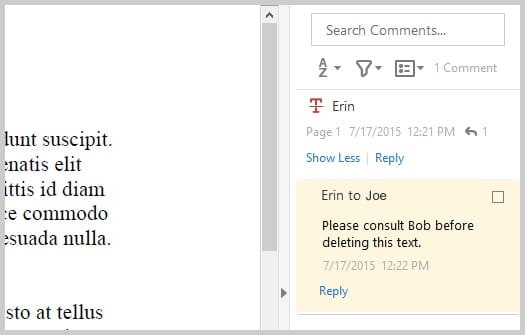 Adobe Acrobat DC Comment Reply In Sidebar