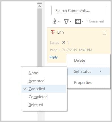 Adobe Acrobat DC Status Set in Sidebar
