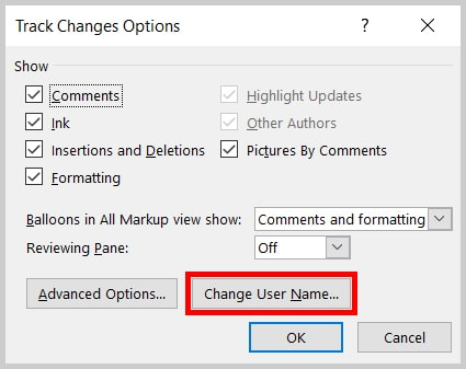 Image of the Word 365 / Word 2019 Track Changes Options Dialog Box Change User Name Button | Step 3 in How to Change Your Name for Track Changes in Microsoft Word