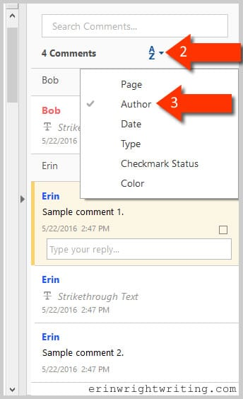 Adobe Acrobat DC Sort Comment Button--Steps 2 and 3 in how to change the name for existing comments and mark-ups in Adobe Acrobat DC