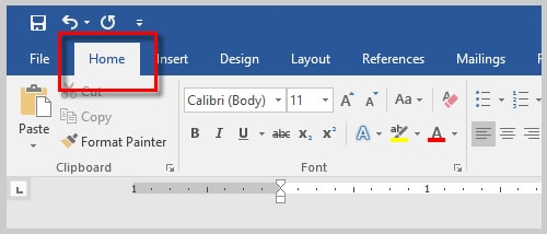 How to Find and Replace Special Characters in Microsoft Word | Image of Home Tab