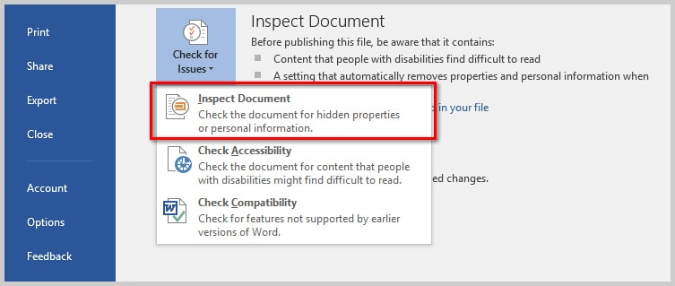 How to Remove User Names from Existing Track Changes in Microsoft Word | Image of Inspect Document Option in Backstack View