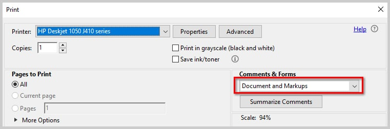 Image of Adobe Acrobat DC Print Dialog Box Comments & Forms Drop-Down Menu | How to Print PDFs with Comments and Mark-Ups in Adobe Acrobat DC