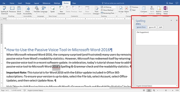Image of Word 2016 Editor Sidebar | How to Use the Passive Voice Tool in Microsoft Word 2016