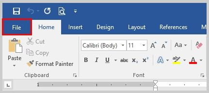Image of Word 2016 File Tab | How to Use the Passive Voice Tool in Microsoft Word 2016