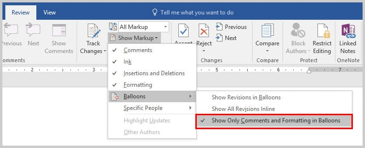 Word 2016 Show Markup Drop-Down Menu with Balloon Options | How to Copy and Paste Microsoft Word Comments