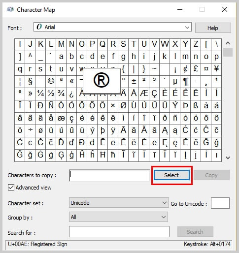 Windows 10 Character Map Select Button | How to Insert Trademark, Copyright, and Registered Symbols in PDFs