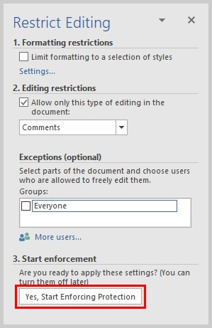 Microsoft Word 2016 Restrict Editing Task Pane Start Enforcing Button | How to Restrict Editing in Microsoft Word