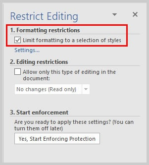 Microsoft Word 2016 Limit Formatting Option in Restrict Editing Task Pane | How to Restrict Style Changes in Microsoft Word
