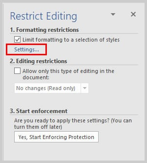 Microsoft Word Restrict Editing Task Pane Settings Link | How to Restrict Style Changes in Word 2016