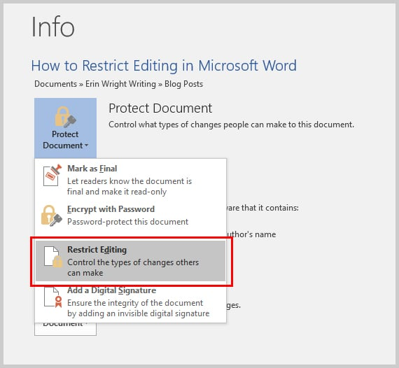 Microsoft Word 2016 Restrict Editing Option in Backstage View | How to Restrict Style Changes in Microsoft Word