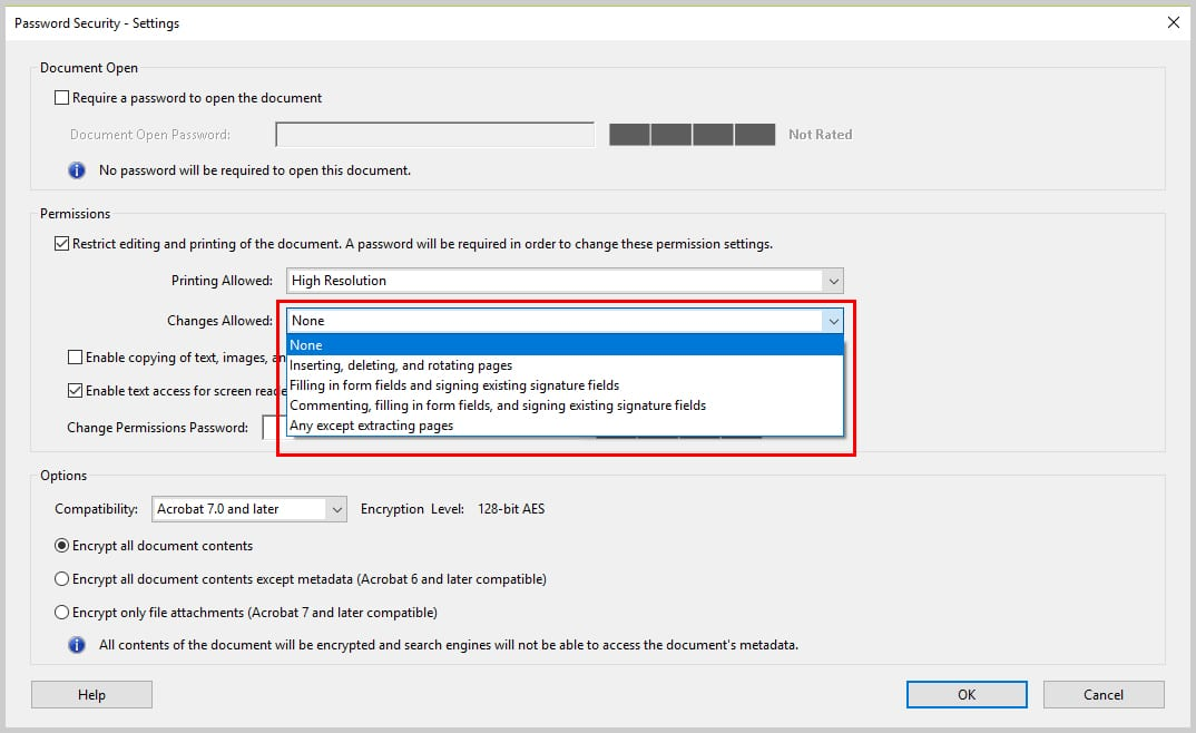 Image of Adobe Acrobat Password Security Dialog Box Changes Allowed Option | How to Restrict Editing in Adobe Acrobat