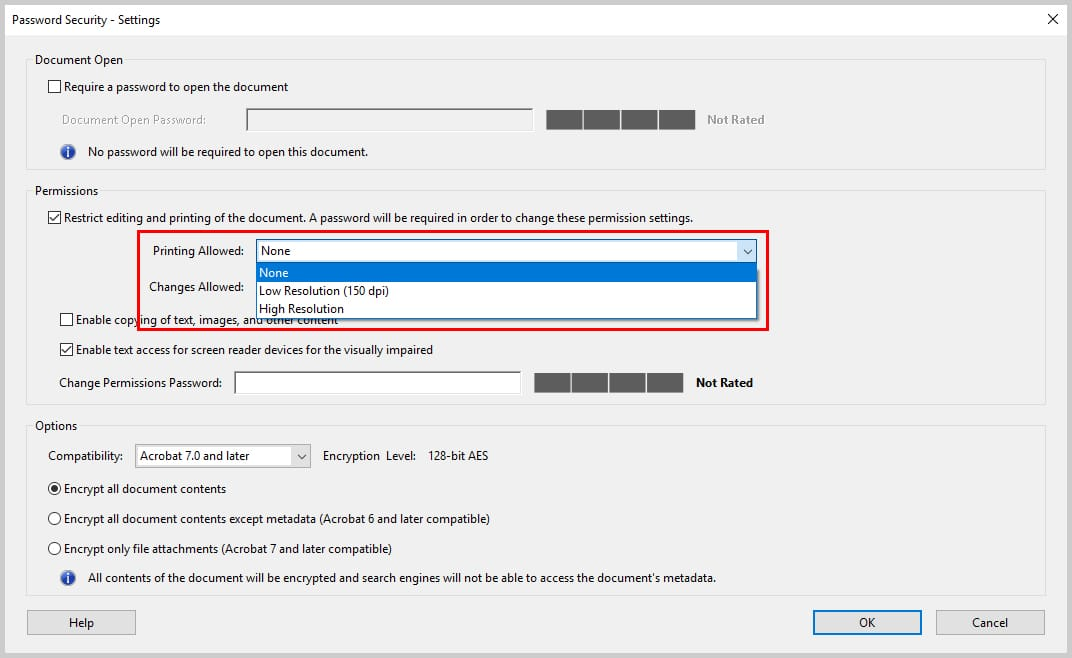 Image of Adobe Acrobat DC Password Security Dialog Box Printing Options | How to Restrict Editing in Adobe Acrobat