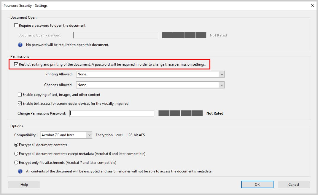 Image of Adobe Acrobat Pro Password Security Dialog Box | How to Restrict Editing in Adobe Acrobat