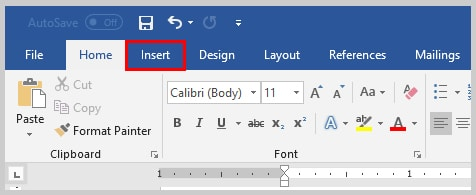 Image of Microsoft Word 2016 Insert Tab