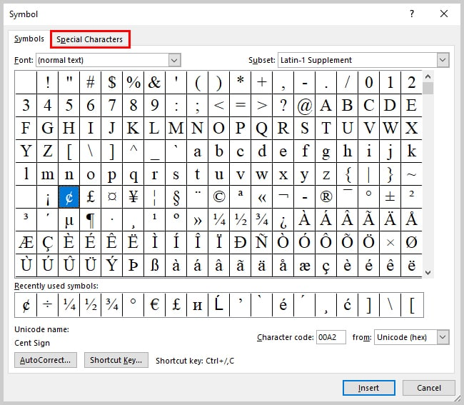 Image of Microsoft Word 2016 Symbol Dialog Box