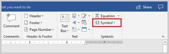 Image of Microsoft Word 2016 Symbol Option on Insert Tab