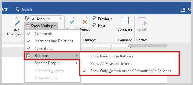 Image of Microsoft Word Balloons Options | How to View Specific Reviewers' Comments and Edits in Microsoft Word