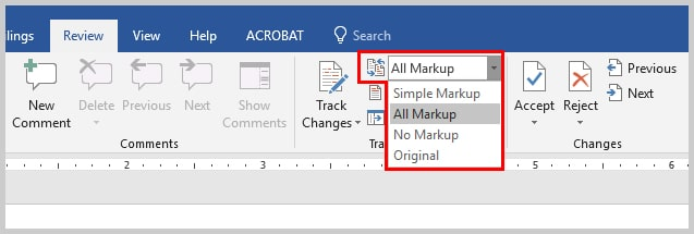 Image of Microsoft Word Display for Review Menu | How to View Specific Reviewers' Comments and Edits in Microsoft Word