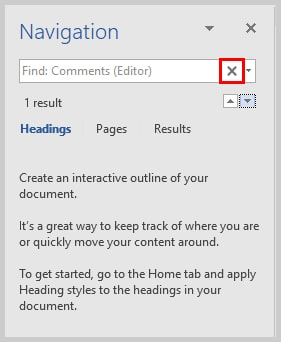 Image of Microsoft Word Navigation Pane Stop Search Button | How to View Specific Reviewers' Comments and Edits in Microsoft Word