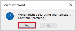 Image of End of Search in Selection Alert Box | How to Search in Comments in Microsoft Word