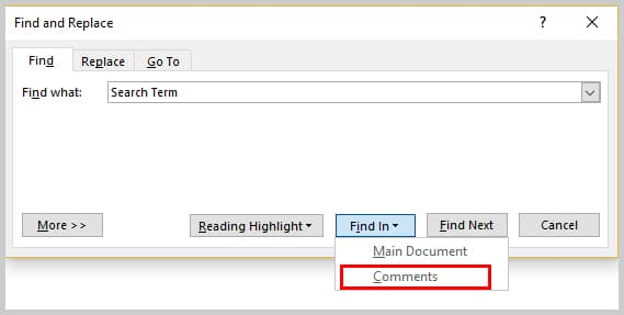 Image of Find and Replace Dialog Box Find In Comments Option | How to Search Within Comments in Microsoft Word