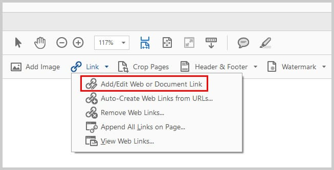 Image of Add/Edit Web or Document Link Option | How to Create External Links in PDFs wit Adobe Acrobat